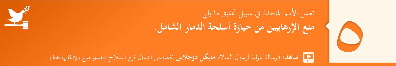 5. منع الإرهابيين من حيازة أسلحة الدمار الشامل.