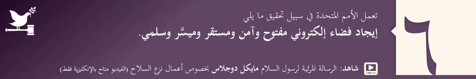 6. إيجاد فضاء إلكتروني مفتوح وآمن ومستقر وميسَّر وسلمي.