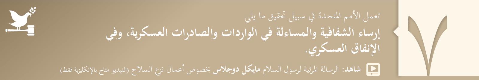 7. إرساء الشفافية والمساءلة في الواردات والصادرات العسكرية، وفي الإنفاق العسكري.