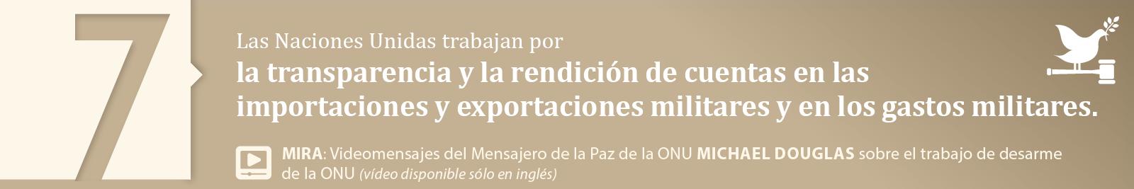 7. La transparencia y la rendición de cuentas en las importaciones y exportaciones militares y en los gastos militares.