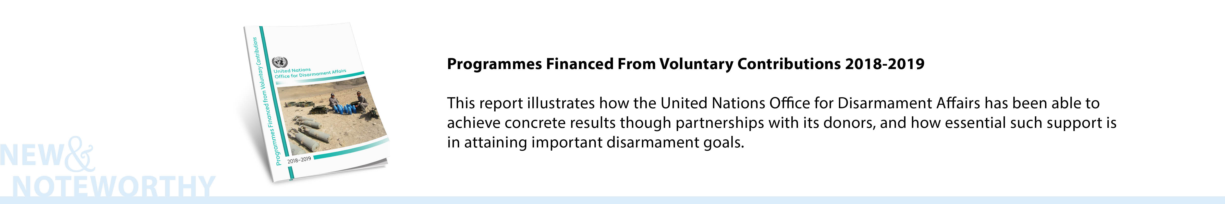 Programmes Financed From Voluntary Contributions 2018-2019 - This report illustrates how the United Nations Office for Disarmament Affairs has been able to achieve concrete results through partnerships with its donors, and how essential such support is in attaining important disarmament goals.